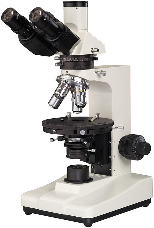 Eyepiece Φ18mm Industrial Microscopes 6V 20W Halogen Rotatable Polarizing Stage